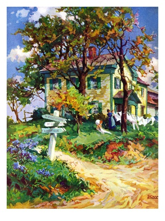 """Country Crossroads,""September 1, 1938 Giclee Print by G. Kay"
