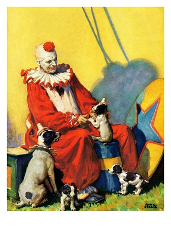 """Circus Clown and Show Dogs,""April 1, 1929 Giclee Print by Ray C. Strang"
