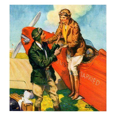 """Just Married, Just Landed,""July 1, 1929 Giclee Print by Ray C. Strang"