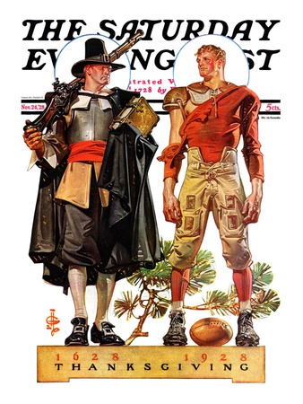 """Thanksgiving, 1628/1928,"" Saturday Evening Post Cover, November 24, 1928 Giclee Print by Joseph Christian Leyendecker"