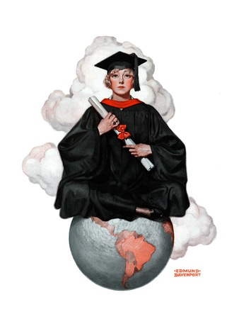 """""""Graduate on Top of the World,""""June 13, 1925 Giclee Print by Edmund Davenport"""