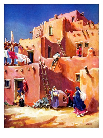 """Adobe Village,""February 1, 1940 Giclee Print by G. Kay"