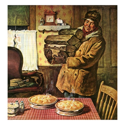 """""""Eyeing the Pies,""""January 1, 1945 Giclee Print by Amos Sewell"""