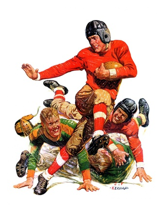 """College Football,""October 15, 1932 Giclee Print by J.F. Kernan"