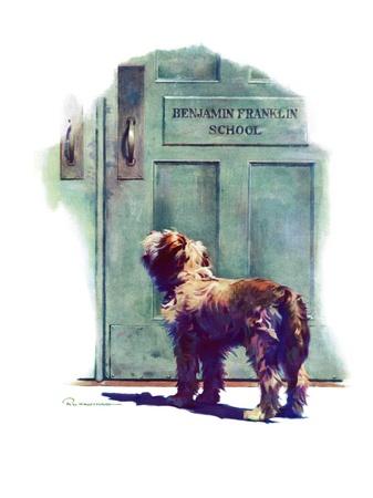 """Dog Waiting for Schoolboy,""September 10, 1938 Giclee Print by Robert C. Kauffmann"