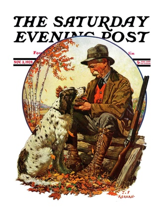 """Hunter and Spaniel,"" Saturday Evening Post Cover, November 3, 1928 Giclee Print by J.F. Kernan"