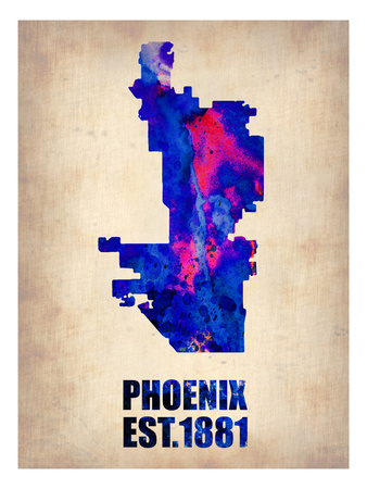 Phoenix Watercolor Map Art by  NaxArt