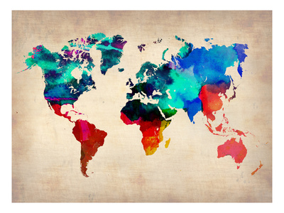 World Watercolor Map 1 Kunsttryk