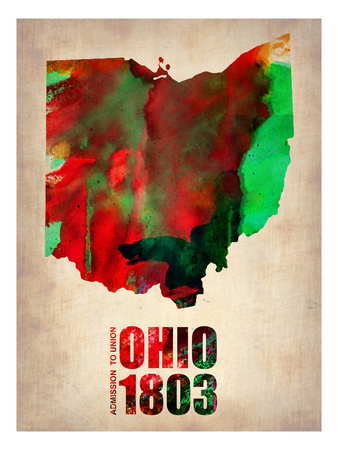 Ohio Watercolor Map Print by  NaxArt