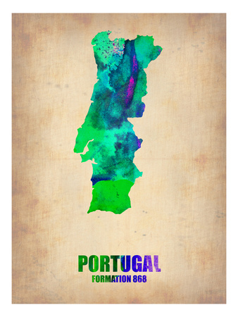 Portugal Watercolor Map Posters by  NaxArt