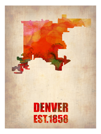 Denver Watercolor Map Prints by  NaxArt