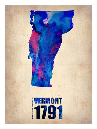 Vermont Watercolor Map Posters by  NaxArt