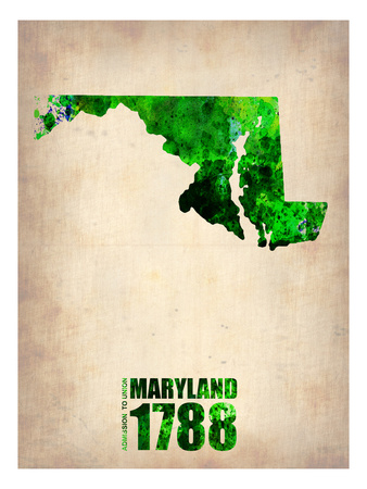 Maryland Watercolor Map Posters by  NaxArt
