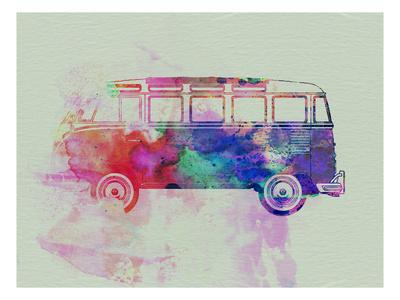 VW Bus Watercolor Art by  NaxArt