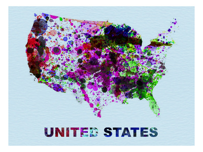 United States Color Splatter Map Art by  NaxArt