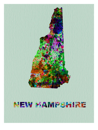New Hampshire Color Splatter Map Prints by  NaxArt