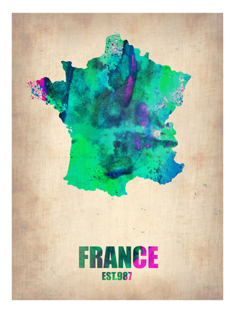 France Watercolor Map Prints by  NaxArt