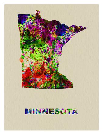 Minnesota Color Splatter Map Prints by  NaxArt