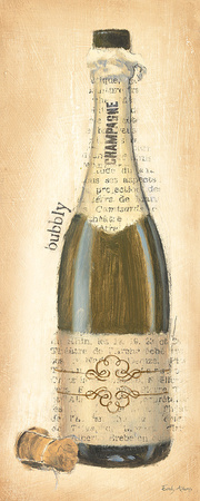 Bubbly Champagne Bottle Prints by Emily Adams