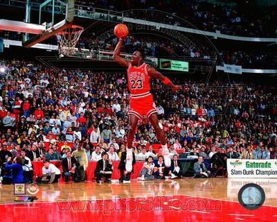 Michael Jordan 1988 dunk, NBA slam dunk contest photo poster
