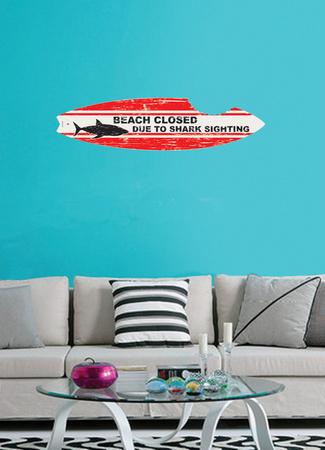 サメ形サーフボードウォールステッカー・壁用シール ウォールステッカー