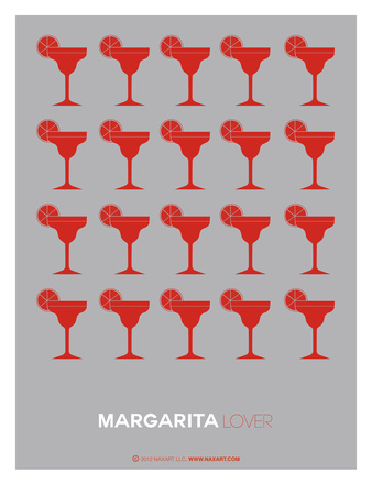 Red Margaritas Grey Poster Prints by  NaxArt