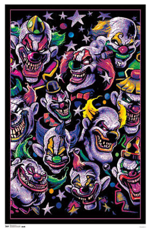 Collage of scary surreal clowns in this blacklight poster wall art