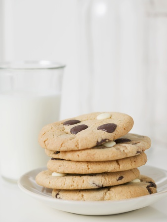 Chocolate Chip Cookies and Glass of Milk Photographic Print