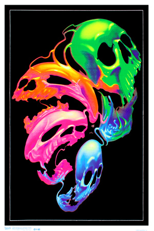 Liquid skulls fantasy blacklight pink, orange, green and blue blacklight poster wall art