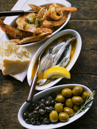 Marinated Sardines, Fried Scampi and Olives Photographic Print