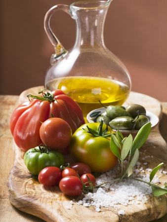 Fresh Tomatoes, Olives, Salt and Olive Oil Photographic Print