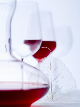 Glass of Red Wine, Carafe and Empty Wine Glasses Photographic Print