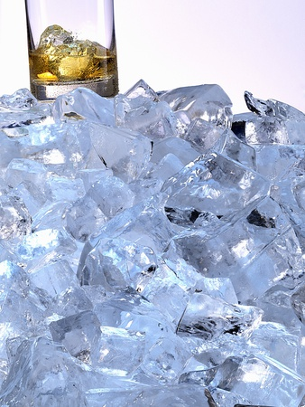 A Whiskey Glass on a Mountain of Ice Cubes Photographic Print by Michael Meisen