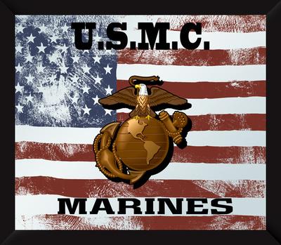 US Marine Corps Flag USMC Mirror Sign Wall Sign