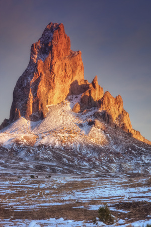 Mount Agathla and Snow Dust, Arizona Photographic Print by Vincent James