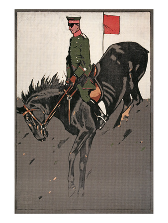 Army Equestrian Cross Country Horseback Rider Poster