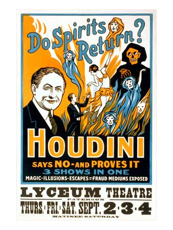 Do Spirits Return, Houdini Poster Posters
