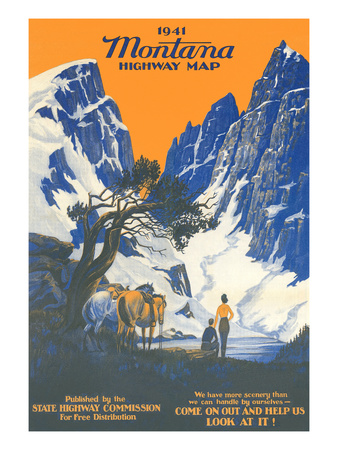 Montana Highway Map Posters