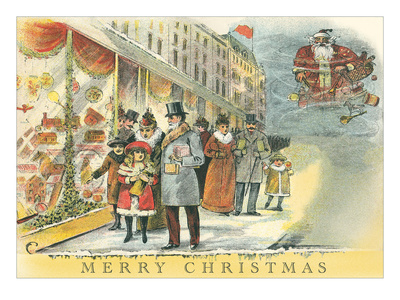 Vintage Christmas Shopping Scene Posters