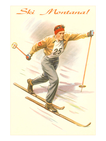 Ski Montana, Vintage Cross Country Skier Print