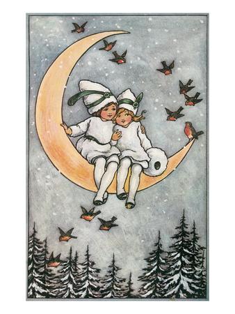 Winter, Children on Moon Stampe