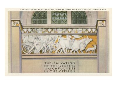Pioneers Panel, State Capitol, Lincoln, Nebraska Prints