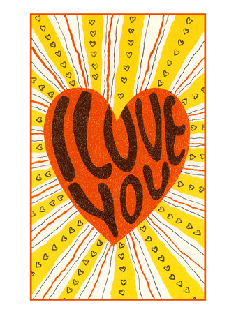 Psychedelic Love You Heart Posters