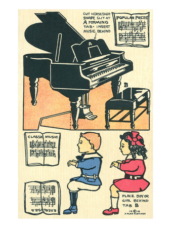Cut-Out Model of Children Playing Piano Prints