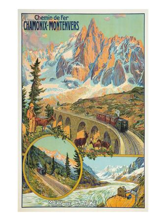Vintage Travel Poster for Chamonix, France Affischer