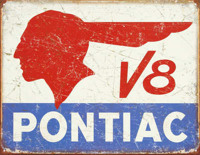 Pontiac V8 Logo - Distressed Retro Vintage Tin Sign Tin Sign
