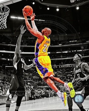 Kobe bryant black and white color spotlight dunking lay up 2013 2013 nba season