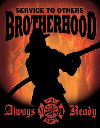 Firemen - Service to Others Brotherhood Tin Sign Tin Sign