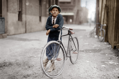 Boy with Bicycle, Smoking a Pipe Photographic Print