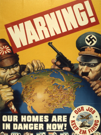 Warning. Our Homes are in Danger Now. WWII Poster, 1942 Giclee Print